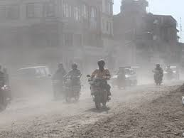 dust particles in the road